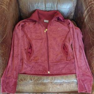 NWOT Nike Rust colored Velvet Zip Jacket
